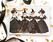 Halloween card, Halloween witch, Halloween decor, Halloween party, Marie Antoinette, vintage halloween, blank Halloween card, holiday card