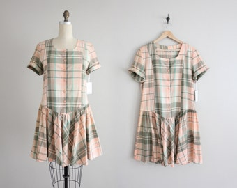 plaid dress / drop waist dress / plaid mini dress