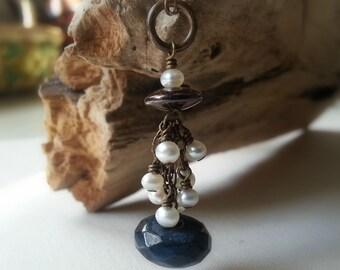 Stone Tassel Necklace Dumortierite Stone and Pearl Tassel Necklace Bohemian Necklace Boho Chic