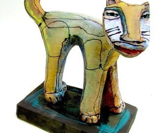 "Cat Sculpture, Art, ""Rainbow Cat in the Sunlight"", 7"" tall x 6"" wide"