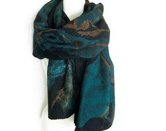 Felted Scarf Wool Silk Shawl Nuno Black Turquoise Emerald Brown Gold