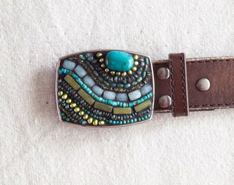 Belt Buckle Mosaic Belt Buckle Turquoise Belt Buckle Statement Buckle Multi Semi Precious Gift for Her Gift for Women Gift for Friend