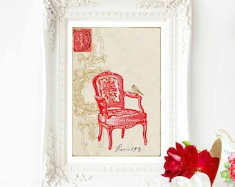 Red chair print, French art print, Regency chair, vintage decor, La Chaise Rouge, Paris 1908, A4  giclee