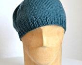 Knit Beret in Blue Green Alpaca Wool - Women's Beret Hat