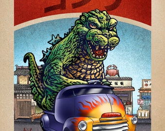 Godzilla Monster Truck 8 x 10  signed print- Japanese Kaiju Monster in Truck