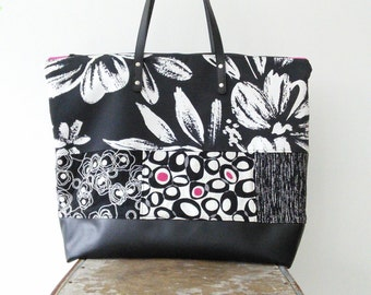 Large Overnight/Carry On/Diaper Bag, made from repurposed upholstery fabrics, Maine made and OOAK