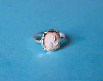 Tiny Light Pink Rose Cameo Ring