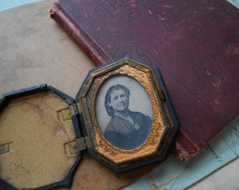 antique daguerrotype in case - victorian photography