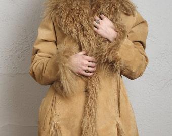 ON SALE Suede & Lambswool Coat