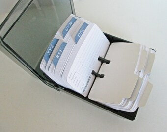 Rolodex Rubbermaid, Covered card file, Unused Alphabet Cards, Tray Index Card Holder Petite Blue Black Telephone Address Email Organizer