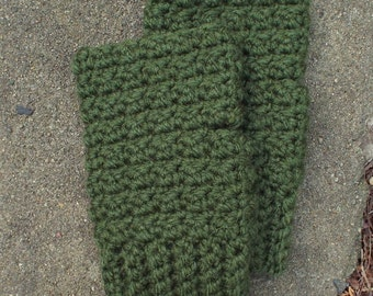 Forest Green Fingerless Gloves, Crochet Fingerless Mittens, Ladies Hand Warmers, Womens Wrist Warmers, Texting Gloves, Gift for Her