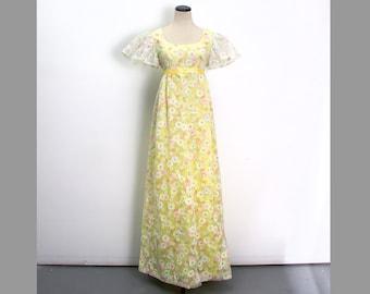 VTG 60's Daisy Flower Child Yellow Maxi Dress (Small / Medium) Hippie Boho Flutter Sleeves Empire Waist Sundress