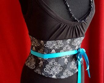 Indigo Bamboo Batik Waist Cincher Corset Belt Any Size