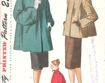 Simplicity 1716 1940s  Misses Swing Coat Pattern Womens Vintage Sewing Pattern Size 18 Bust 36 UNCUT