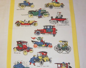 Vintage Towel Antique Cars in Cartoon Graphics