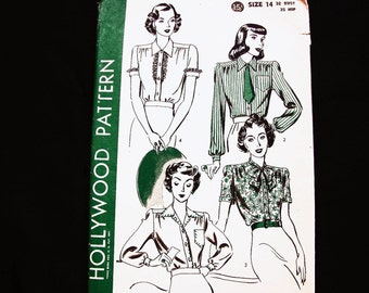 Womens 1940s Blouse Pattern Misses Size 14 UNCUT Hollywood Pattern 4 Styles Ladies Blouse with Bow Vintage Sewing Pattern 40s