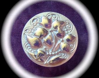 2 Czech Glass Buttons on SALE, 27mm 1-1/16 inch - Iridescent Moonlight Purple Ivy Flowers with Frosted White Lace Swirls - CLEARANCE