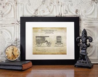 1889 Vintage Ambulance patent art print, ambulance blueprint art, paramedic gifts, EMT gifts, emergency vehicle art, firefighter emt gift