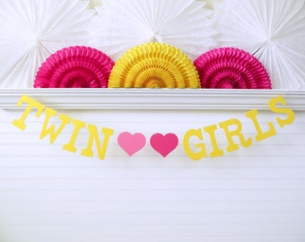 Twin Girls Banner - 5 Inch Letters with hearts - Twin Baby Shower Twin Girl Baby Shower Decoration Twins Garland Twins Baby Banner Twin Girl