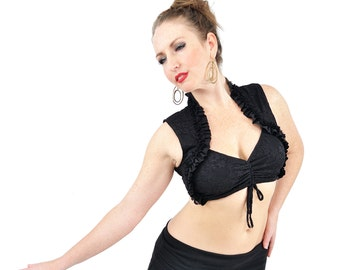 Black Lace Carmen Top - bellydance, tribal fusion belly dance