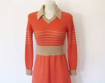 Vintage 1970s Sweater Dress / Orange & Tan Acrylic Knit Dress