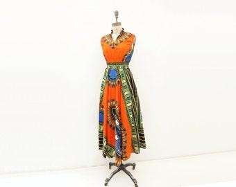 African Print Dress Vintage Tribal Maxi 70s Dress Boho Vintage Dress Hippie Maxi Dress 1970s Vintage Dress 70s Maxi Dress small