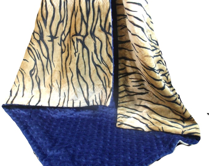 Minky Baby Blanket in Tiger Print with Navy Minky Dot, Navy Tiger Minky Blanket, Three Sizes, Can Be Personalized