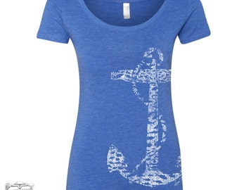 Womens ANCHOR TriBlend Scoop Neck Tee - T Shirt S M L XL XXL (+ Colors)