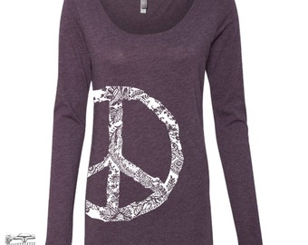 Womens PEACE Long Sleeve Scoop Neck -  Tri Blend t shirt [+Colors] S M L XL XXL