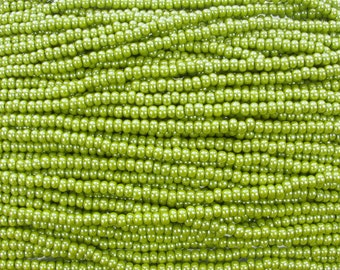 6/0 Opaque Olive Green Luster Czech Glass Seed Bead Strand (CW221)