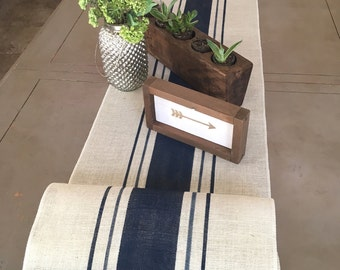 Oyster White Burlap Table Runner with Grain Sack Stripes in Shades of Blue  Farmhouse Decor / Coastal Cottage / Beach house / lake house