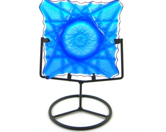 Carnival Glass Inspired Table Top Art Glass by Uneek Glass Fusions. Textured Transparent Blue Art Glass Decor with Stand.