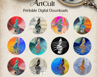 "1"" (25mm) and 1.5"" Circle Images Printable images TREBLE CLEF digital download for pendants cabochons bezels craft and art projects ArtCult"