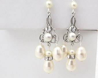 Chandelier Bridal earrings, Pearl Wedding earrings, Wedding jewelry, Swarovski crystal earrings, Vintage style earrings, Silver Filigree