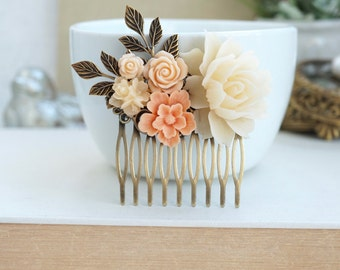 Peach Flower Comb, Ivory Flower Comb, Flower Comb, Peach Ivory Comb, Antiqued Plated Comb, Peach Wedding, Brass Flower Comb, Bridesmaid Gift