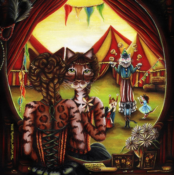 Bengal Cat Art 78Tarot Carnival Circus Performers 5x7 Fine Art Print
