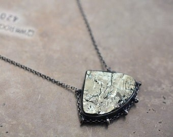 Pyrite path…natural cleft pyrite in sterling silver necklace