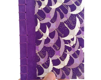 Japanese Notebook, Purple Cranes Notebook, Yuzen Notebook, Chiyogami Notebook, Gift for a Writer