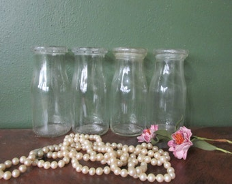 Milk Bottle Clear Glass Home Delivery Half Pint Jars Set of 4