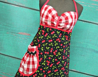 Women's Apron - Signature Apron - Black & Red Cherries