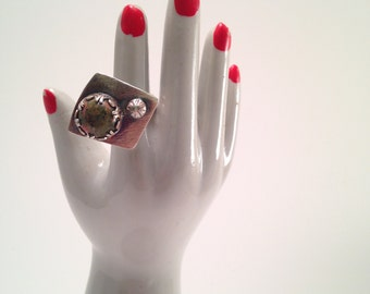 Little unakite and sterling square ring - size 5