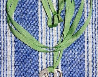 Found Treasures Charm Necklace Two Keys Pendant on Green Silk Ribbon Vintage Findings OOAK