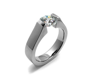 Unique Engagement Ring with 2ct, 1.5ct and 1ct White Sapphire High Tension Setting in Stainless Steel