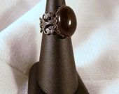 Ring, Smoky Quartz, Deep Brown, Chocolate, Filigree  4749