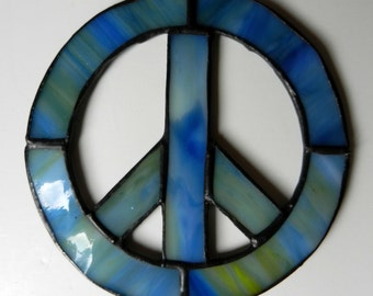 Stained Glass Handmade Peace Sign Sun Catcher Ornament