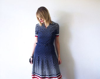 70s psychedelic polka dot dress. belted dress. 70s jersey dress - small to medium