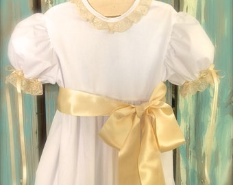 Heirloom Lace Dress Simple and Elegant  Flower Girl Pageant First Communion Special Occasion Dress 6m to 12 Juvie Moon Designs