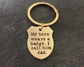 Custom Gold Badge Keychain -  Bronze Shield Keychain Officer Police Father  Mother Brother Mother Sister Uncle Aunt Cousin Uncle Friend