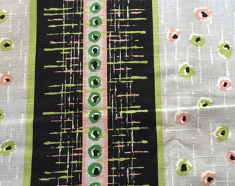 SALE - 70s 5th Ave Design for Covington//Static Mid Century Mod// Black, Pink, Lime Green, Grey, Stripe // Dots within Dots //All Cotton//OP