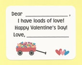 Little Red Wagon Full of Hearts - Fill in the Blanks Valentine's Day Cards - Great for Preschoolers